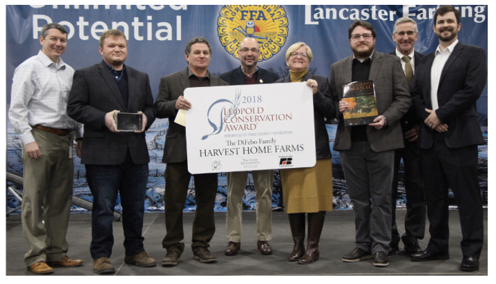 DiFebo family excepting Leopold Award at PA Farm Show